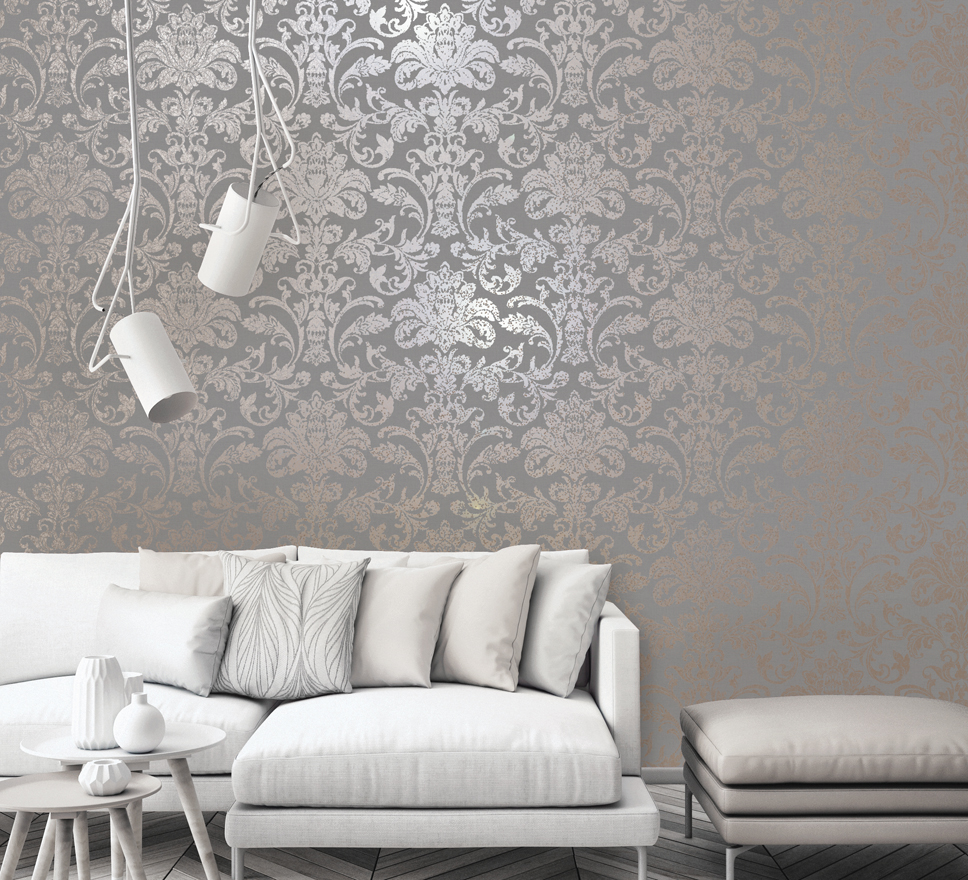 Holden Glistening Damask Grey/Rose Gold 12712 | Wallpaper ...