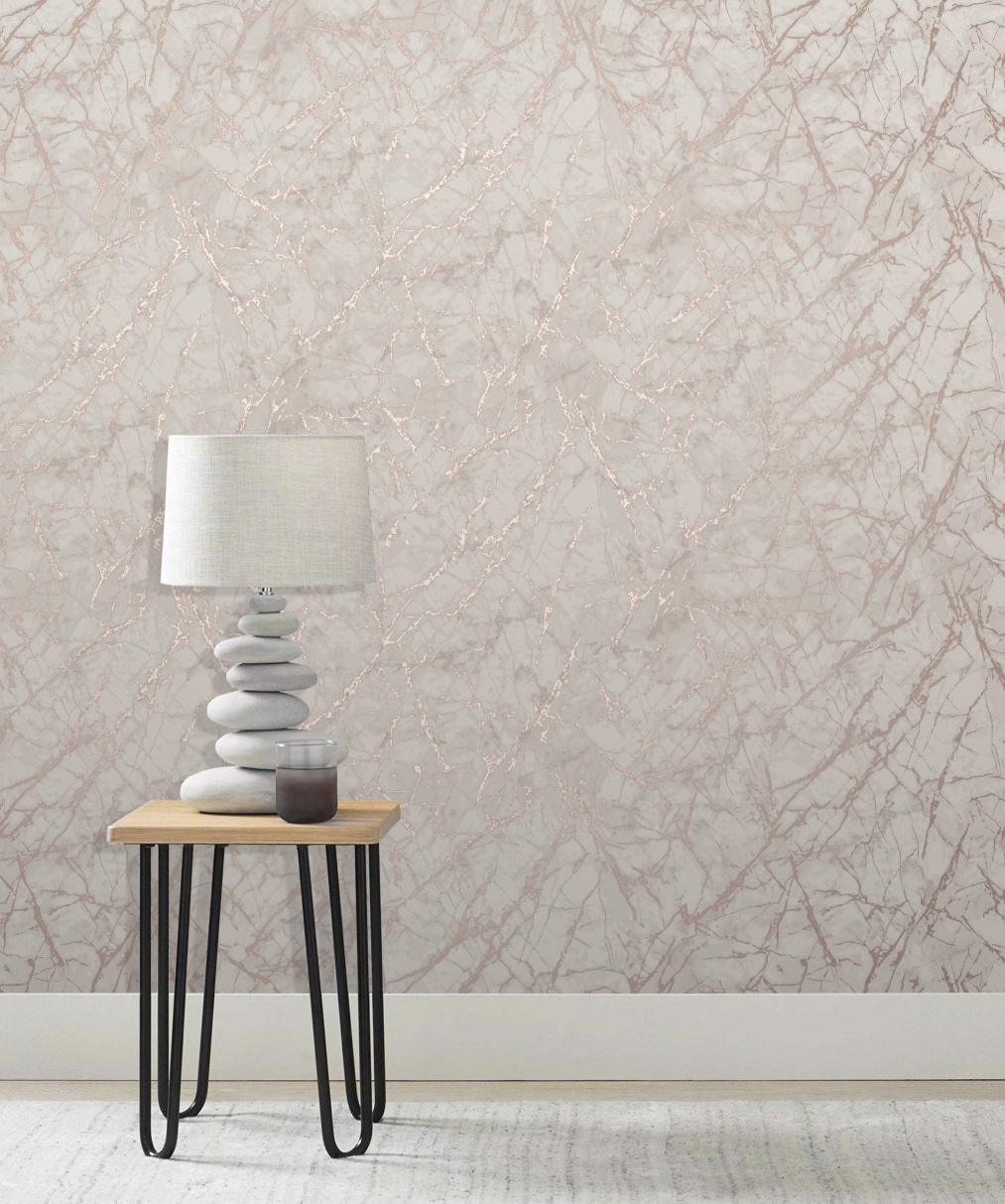 Fine Decor Metallic Marble Rose Gold Fd42268 Wallpaper Central