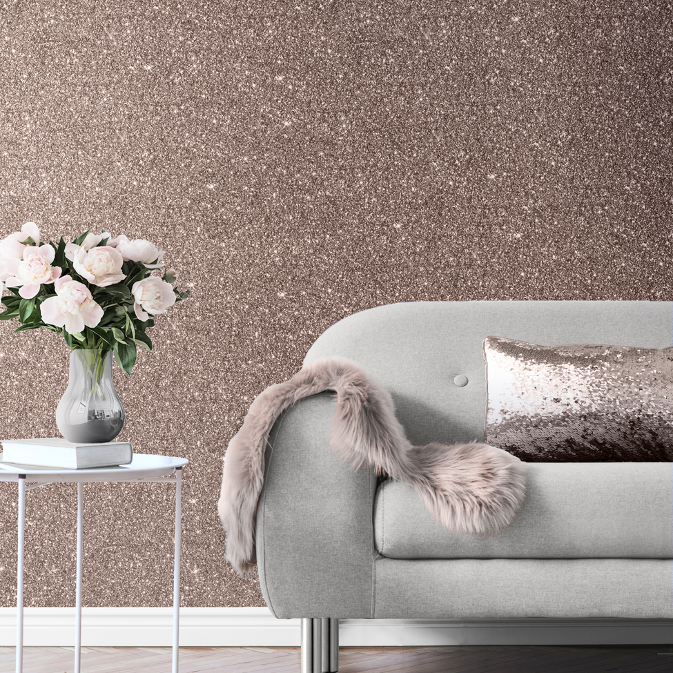 Muriva Sparkle Rose Gold Wallpaper 701379