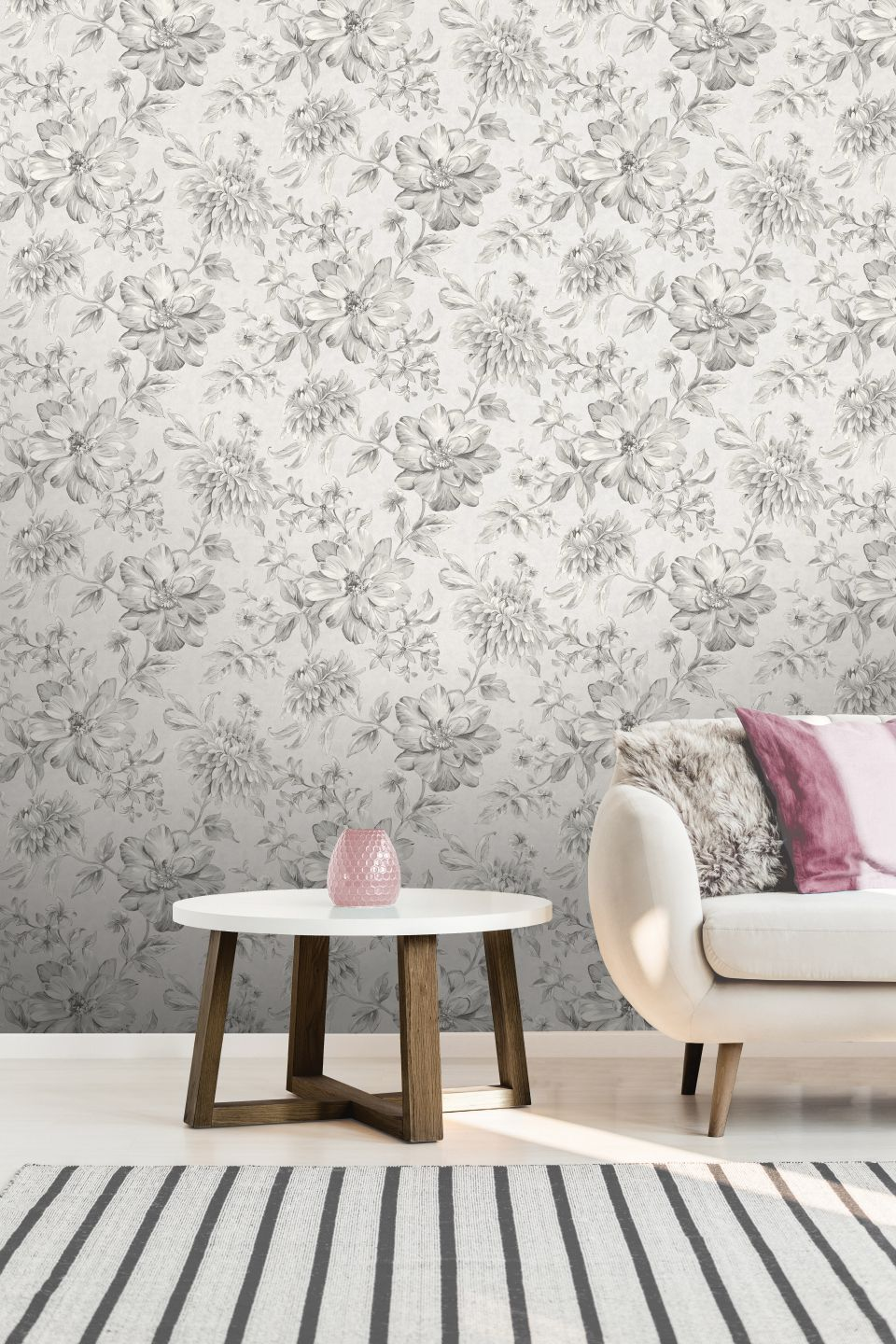 Crown Lucia Floral Silver M1547 Wallpaper Central