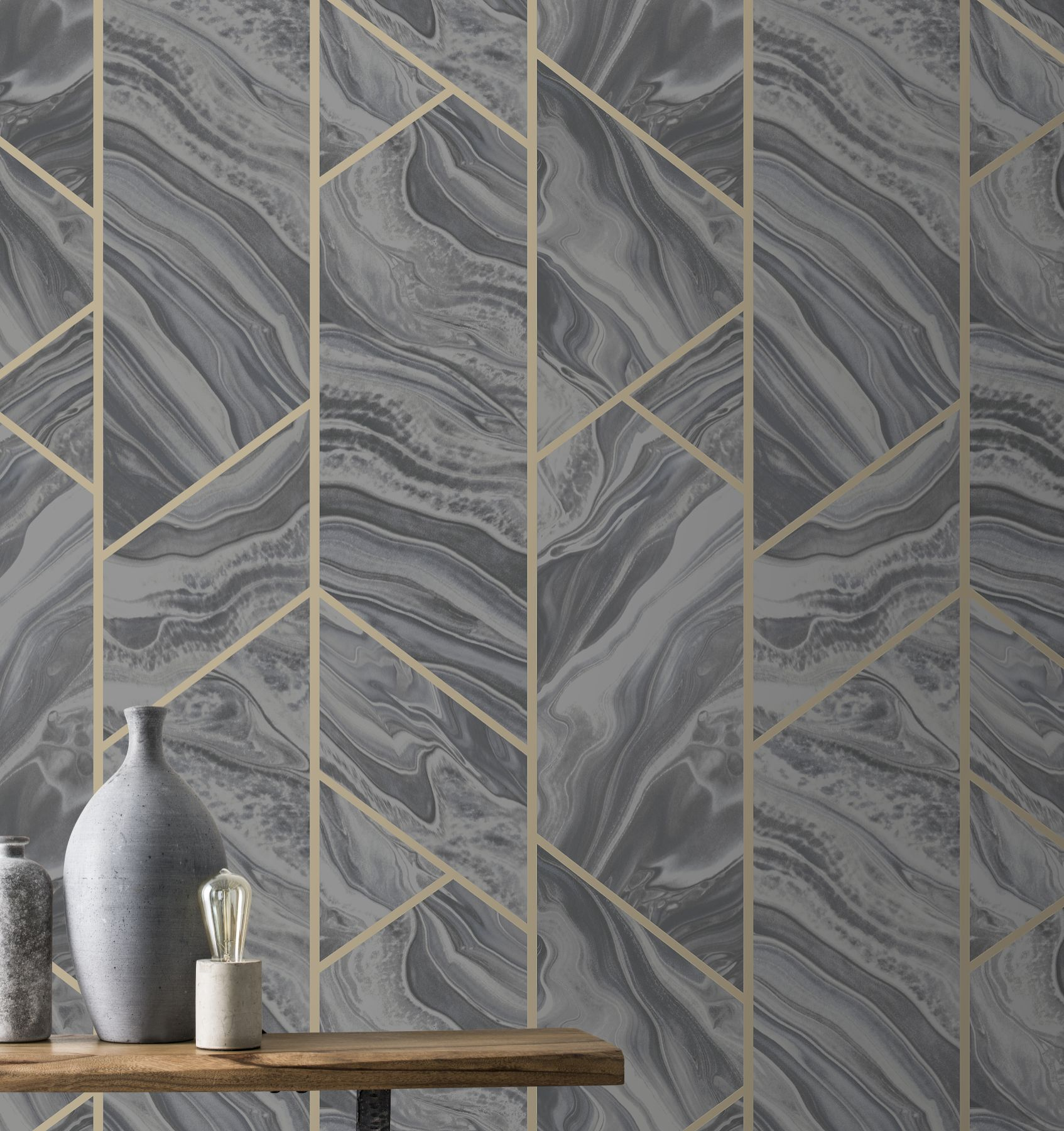 Rasch Marble Geo Charcoal 310955 Wallpaper Central